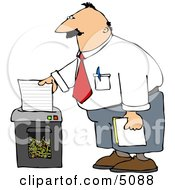 Man Shredding Confidential Papers Clipart