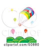 Royalty Free RF Clipart Illustration Of Balloons Delivering Parcels Over Green Hills by Cherie Reve