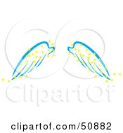 Royalty Free RF Clipart Illustration Of A Pair Of Blue Angel Wings With Yellow Magic Stars by Cherie Reve