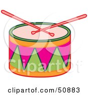 Drumsticks Resting On A Colorful Drum