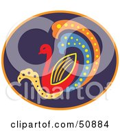 Colorful Duck Or Swan In A Purple Oval