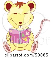 Royalty Free RF Clipart Illustration Of A Happy Mouse Sitting And Reading A Book by Cherie Reve