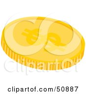 Royalty Free RF Clipart Illustration Of A Golden Dollar Coin
