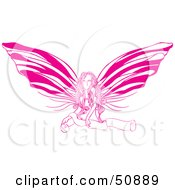 Royalty Free RF Clipart Illustration Of A Pretty Pink Fairy Girl With A Blank Scroll