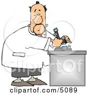 Male Biology Scientist Using Microscope Clipart by Dennis Cox