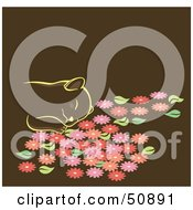 Royalty Free RF Clipart Illustration Of A Happy Kitten Napping In Flowers by Cherie Reve