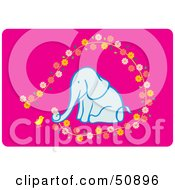 Royalty Free RF Clipart Illustration Of A Chick And Elephant Picking Flowers by Cherie Reve