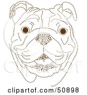 Royalty Free RF Clipart Illustration Of A Friendly Bulldog Face Made Of Brown Dots by Cherie Reve