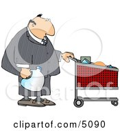Businessman Pushing A Shopping Cart In A Grocery Store Clipart