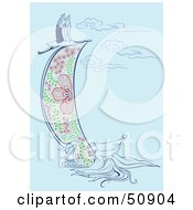 Royalty Free RF Clipart Illustration Of A Heron Flying Over A Woman Holding A Scroll by Cherie Reve