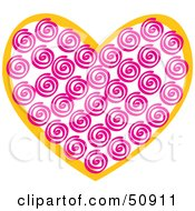 Royalty Free RF Clipart Illustration Of A Pink Swirly Patterned Heart by Cherie Reve