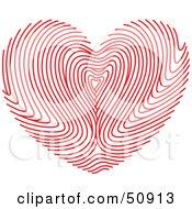 Royalty Free RF Clipart Illustration Of A Red Fingerprint Patterned Heart by Cherie Reve #COLLC50913-0099