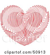 Royalty Free RF Clipart Illustration Of A Red Fingerprint Patterned Heart by Cherie Reve