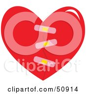 Royalty Free RF Clipart Illustration Of A Bandaged Red Heart by Cherie Reve