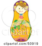 Royalty Free RF Clipart Illustration Of A Decorated Female Matryoshka Doll Version 7 by Cherie Reve