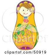 Royalty Free RF Clipart Illustration Of A Decorated Female Matryoshka Doll Version 7