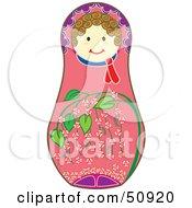 Royalty Free RF Clipart Illustration Of A Decorated Female Matryoshka Doll Version 3