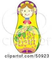 Royalty Free RF Clipart Illustration Of A Decorated Female Matryoshka Doll Version 6 by Cherie Reve