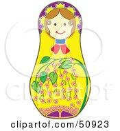 Royalty Free RF Clipart Illustration Of A Decorated Female Matryoshka Doll Version 6