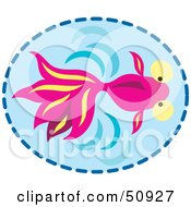 Royalty Free RF Clipart Illustration Of A Swimming Pink Fish In Blue Water by Cherie Reve