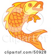 Royalty Free RF Clipart Illustration Of A Swimming Goldfish Version 4 by Cherie Reve