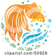 Royalty Free RF Clipart Illustration Of A Swimming Goldfish Version 2