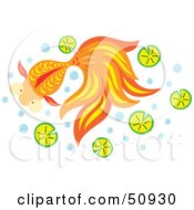 Royalty Free RF Clipart Illustration Of A Swimming Goldfish Version 1