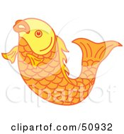 Royalty Free RF Clipart Illustration Of A Swimming Goldfish Version 3 by Cherie Reve