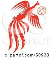 Royalty Free RF Clipart Illustration Of A Flying Orange Fantasy Phoenix With A Ring by Cherie Reve