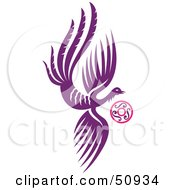 Royalty Free RF Clipart Illustration Of A Flying Purple Fantasy Phoenix With A Ring by Cherie Reve