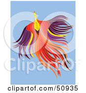 Royalty Free RF Clipart Illustration Of A Flying Colorful Fantasy Phoenix by Cherie Reve