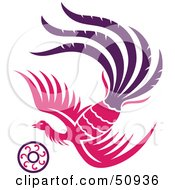 Royalty Free RF Clipart Illustration Of A Flying Pink Fantasy Phoenix With A Ring by Cherie Reve