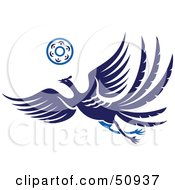 Royalty Free RF Clipart Illustration Of A Flying Blue Fantasy Phoenix With A Ring