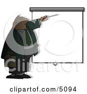 Businessman Giving Slideshow Presentation Clipart
