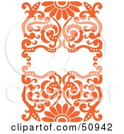 Royalty Free RF Clipart Illustration Of An Ornate Orange Floral Background With Space For Text by Cherie Reve #COLLC50942-0099
