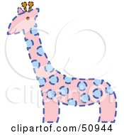 Royalty-Free (RF) Clipart Illustration of a Pink Giraffe With Blue Spots And A Dash Outline by Cherie Reve