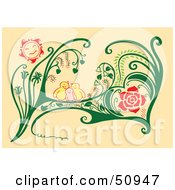 Royalty Free RF Clipart Illustration Of A Family Of Birds Cuddling In Plants by Cherie Reve