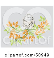 Royalty Free RF Clipart Illustration Of A Chubby Owl Perched On A Branch Of Autumn Leaves by Cherie Reve