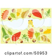Royalty Free RF Clipart Illustration Of A Little Worm Nibbling On A Background Surrounded By Leaves And Acorns by Cherie Reve