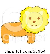 Royalty Free RF Clipart Illustration Of A Happy Male Lion With A Brown Dash Outline by Cherie Reve