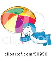 Royalty Free RF Clipart Illustration Of A Tired And Hot Penguin Walking Under An Umbrella by Cherie Reve