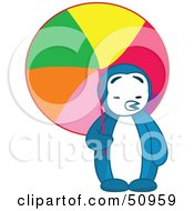 Royalty Free RF Clipart Illustration Of A Hot Blue Penguin Being Shaded With A Colorful Parasol by Cherie Reve