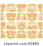 Royalty Free RF Clipart Illustration Of A Repeat Background Of Bamboo On Pale Orange by Cherie Reve