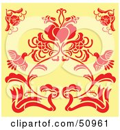Red Floral Decoration On Yellow Version 3