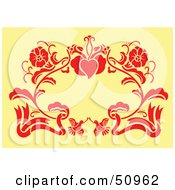 Red Floral Decoration On Yellow Version 1