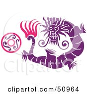 Oriental Dragon With A Ring Version 1
