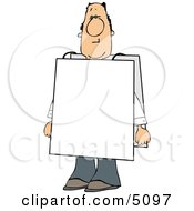 Man Wearing Blank Sign Over His Body