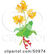 Royalty Free RF Clipart Illustration Of A Plant With Yellow Flower Blooms Version 1