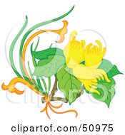 Royalty Free RF Clipart Illustration Of A Plant With Yellow Flower Blooms Version 3