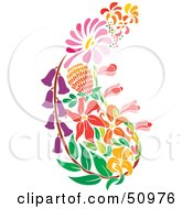 Royalty Free RF Clipart Illustration Of A Paisley Made Of Colorful Flowers